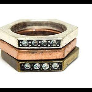 Lia Sophia Tri 3 rings New sz 8